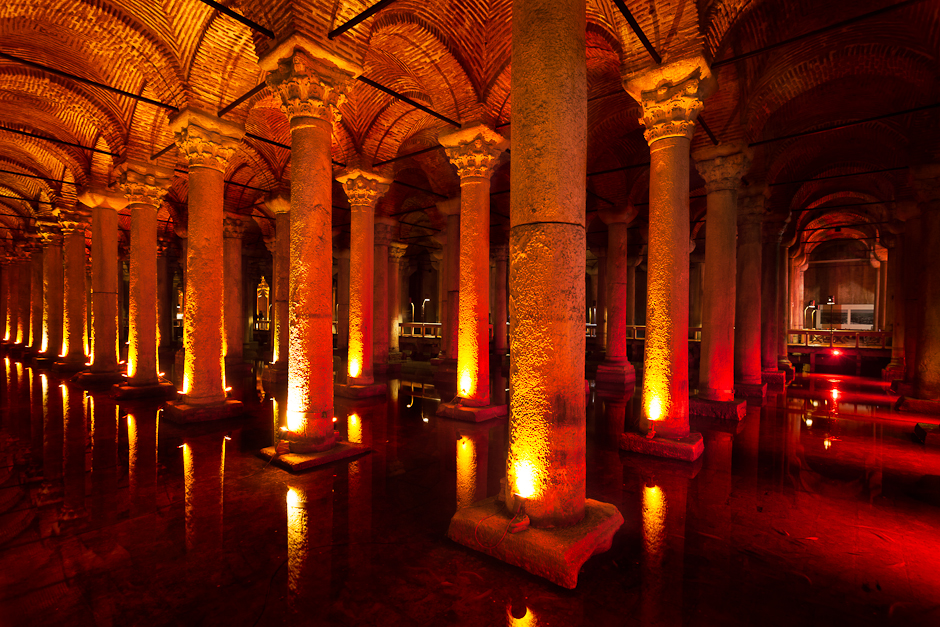 Photograph of the interior of the Basilica Cistern in Istanbul