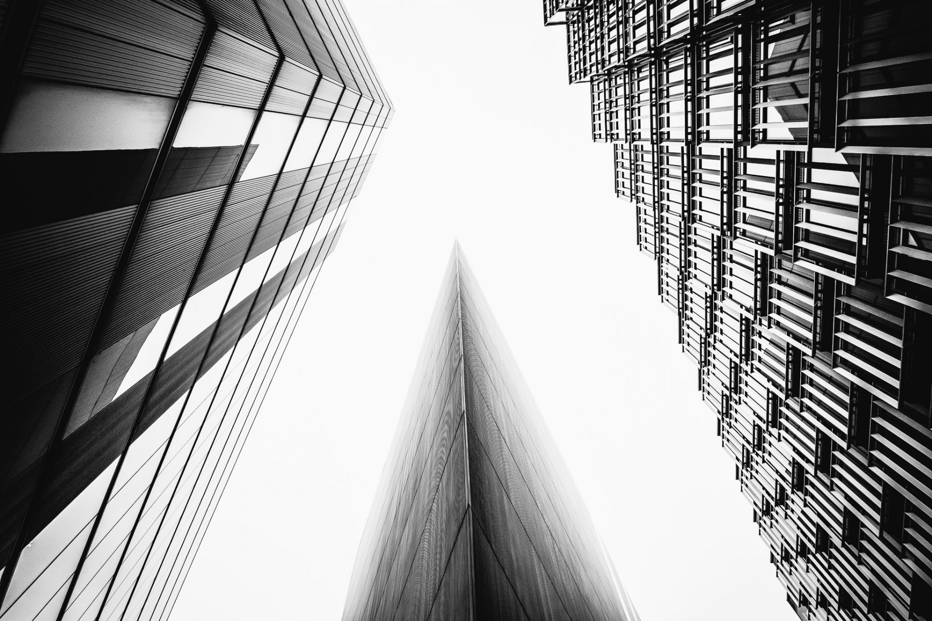 Looking up tall buildings in London's South Bank